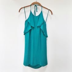 Aaron Ashe | teal halter dress NWT Size xs • new with tags • super cute • silk • no trades Aaron Ashe Dresses