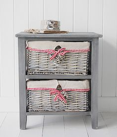 A grey wooden storage unit with two grey basket willow drawers from the St Ives Country Bedroom furniture Range. The St Ives range offers practical but charming storage, and is perfect for the living room, bedroom or hall in your country cottage. Bedroom Furniture Uk, Cottage Furniture, Country Furniture, Shabby Chic Furniture, Country Decor, Country Style, Country Cottage Bedroom, White Cottage, Basket Storage
