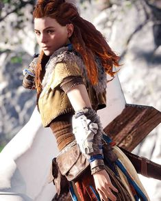 Look into her eyes ___________________________________ Check out my partner's page: ____________________________________ All Video Games, Video Game Characters, Horizon Zero Dawn Cosplay, Horizon Zero Dawn Wallpaper, Horizon Zero Dawn Aloy, Fantasy Art Women, Female Art, Cosplay Costumes, New Books