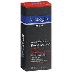Neutrogena Men Triple Protect Face Lotion SPF 20-1.7 oz (Pack of 4) by Neutrogena. $25.87. Helps defend skin against signs of aging Neutrogena Men A lightweight advanced face gel from Neutrogena Men that does more than soothe razor irritation in just one step. Moisturizing formula, enriched with antioxidants, helps fight the signs of aging to keep your skin looking healthy Plus SPF 20 sunscreen provides broad spectrum UVA/UVB protection against sun's damaging rays.