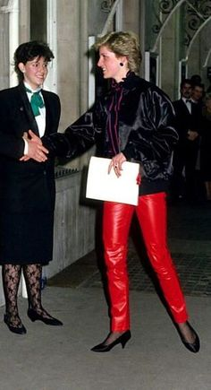 Princess Diana in red leather pants