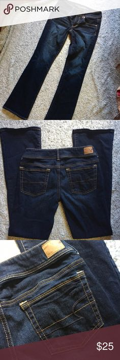 """AEO """"Kick Boot"""" Dark Jeans Beautiful dark wash! Has a slimming effect, in my opinion. American Eagle stretch jeans in a boot cut/straight style. Excellent condition! Look like new!! Cotton/spandex blend. American Eagle Outfitters Jeans Boot Cut"""