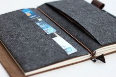 Felt Card Holder for Midori styleTravelers Notebook // by Bielyse