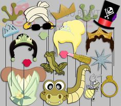 Princess and The Frog Party Photo Booth Props by IraJoJoBowtique