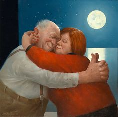 Full Love - Marius van Dokkum, Dutch Artist and Illustrator Growing Old Together, Fat Art, Old Folks, Georges Braque, Dutch Painters, Young At Heart, Dutch Artists, Naive Art, Figure Painting
