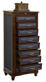 Large Cushion Side Jewelry Armoire 9 Drawers
