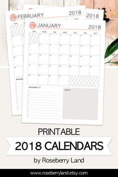 Printable 2018 Calendars - Printable planner pages by Roseberry Land