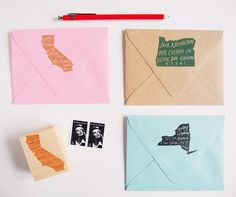 The original home state return address stamp by Paper Pastries.