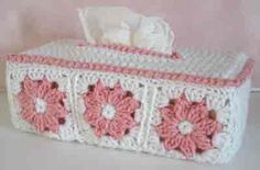 Click the banners below for more popular patterns, available via mail or download! Floral Tissue Box Cover FP106 Intermediate Skill Size: Fits Family Size box o