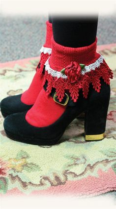 LOLITA SOCKS - Red Lace Socks, Socks with Ruffles and Frills