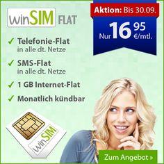 Sonderaktion bis morgen: winSIM 1GB Internet & Allnet-Flat nur 16,95 Euro! iPhone 5c Aktion! - http://apfeleimer.de/2013/09/sonderaktion-bis-morgen-winsim-1gb-internet-allnet-flat-nur-1695-euro-iphone-5c-aktion - Sonderaktion bei winSIM nur noch bis morgen: winSIM All-Net-Flat mit 1GB Internet Flatrate, kostenlos Telefonieren in alle Handynetze und ins Festnetz plus SMS-Flat für nur 16,95 Euro monatlich und monatlich kündbar! Bis zum 30.09.2013 bietet winSIM einige interess