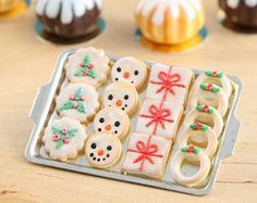 Miniature Christmas Food -  Decorated with snowflakes, Christmas tree cookies, tiny gingerbread couple - cute!  Presented on porcelain plate