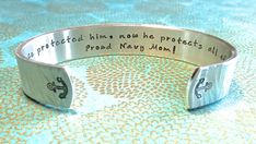 Military Mom | Navy Mom | I once protected him, now he protects all of us. Proud Navy Mom! Custom Hand Stamped Bracelet by MadeByMishka.com