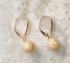 Gold Earrings, Gold Leverback Earrings, 14k Gold Earrings,Vintage Gold Earrings,Diamond Cut Earrings, by MasalaJewelry on Etsy