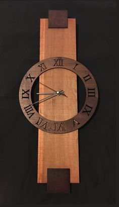 Stained wood contemporary clock