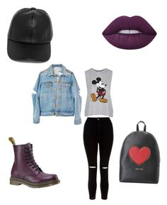 """""""Baseball hat and lipstick"""" by theglamcorridor ❤ liked on Polyvore featuring Dr. Martens, LULUS, Lime Crime, Topshop, New Look and Love Moschino"""