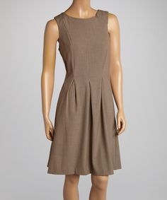 Loving this Taupe Pleated Tropical A-Line Dress on #zulily! #zulilyfinds