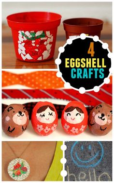 4 Eggshell Crafts- Don't toss those eggshells out!  Use them to make these 4 fun crafts with the kids!  (Mosaic pots, dolls, pendants, and chalk- yes chalk!)