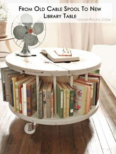DIY Library Table - 35 Amazing DIY Home Decor Projects to Spruce up Your Space [ PropFunds.com ] #home #funds #investment