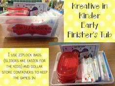 How to set up Kindergarten early finisher tubs (includes Early Finisher's Tub Rules FREEBIE! Early Finishers Kindergarten, Early Finishers Activities, Kindergarten Literacy, Preschool, Literacy Centers, Organization And Management, Classroom Organization, Classroom Management, Behavior Management
