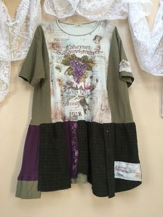 Plus Size Upcycled Shabby Chic Vintage T-Shirts Reconstructed Tunic, Romantic Purple Grapes Wine Tasting patchwork Tunic All cotton Jersey with some Corduroy Plus sizes 1X 2X 3X  26 pit to pit Free fit waist and hips 34 long