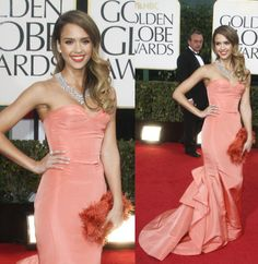 Jessica Alba in a light coral Oscar de la Renta strapless mermaid gown (from the Pre-Fall 2013 collection) during the  2013 Golden Globe Awards held at the Beverly Hilton Hotel.