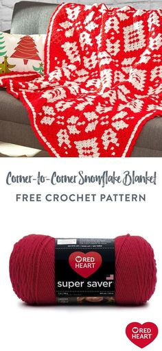 Free Corner-to-Corner Snowflake Blanket crochet pattern using Red Heart Super Saver yarn. Decorate your holiday home with the winter wonderland on this marvelous crochet throw. It's crocheted in a diagonal direction starting at one corner and ending at the opposite end. Welcome visitors by displaying this festive layer in the guest room. #Yarnspirations #FreeCrochetPattern #CrochetBlanket #CrochetAfghan #CrochetThrow #WinterBlanket #RedHeartYarn #RedHeartSuperSaver
