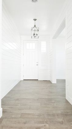 Processed with VSCO with preset Decor, House Design, House, Shiplap, Grey Wood Floors, White Shiplap, Interior Details, House Interior, Entry Lighting