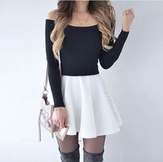 long sleeve top, white skater skirt and over the knee boots. long sleeve top, white skater skirt and over the knee boots. Teen Fashion Outfits, Casual Fall Outfits, Girly Outfits, Mode Outfits, Cute Fashion, Outfits For Teens, Dress Outfits, Girl Fashion, Summer Outfits