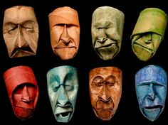 French paper artist Junior Fritz Jacquet created this fantastic series of weird masks made from toilet paper rolls. Inspired by the craft of origami, each mask is made from a single paper roll which is folded and squished into an expressive face. The pieces are then finished with a coat of shellac a