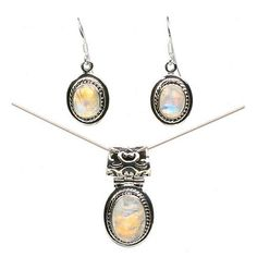 Silver Moonstone Pendant and Earrings Set  Price Β£55