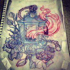 Lantern tattoo idea x Tattoo Arm Designs, Sleeve Designs, Lantern Tattoo, Dark Tattoo, Chicano, Ink Art, Lanterns, Art Drawings, Arms
