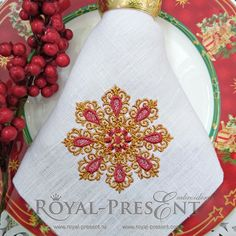 Machine Embroidery Design Abstract gold snowflake