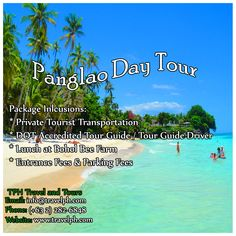 PANGLAO DAY TOUR  For more inquiries please call: Landline: (+63 2)282-6848 Mobile: (+63) 918-238-9506 or Email us: info@travelph.com #Bohol #Philippines #TravelPH #TravelWithNoWorries Travel Tours, Travel Info, Farm Entrance, Bohol Philippines, Travel Companies, Travel Agency, Day Tours, Tour Guide, Travel Guide