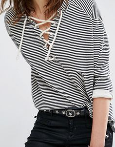 French style Maison Scotch Striped Sweatshirt With Lacing