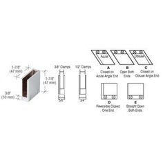 """C.R. LAURENCE RH2212BN CRL Brushed Nickel 1/2"""" 90 Degree Straight End Clamp Type """"D"""" Stair and Walkway Railings by C.R. Laurence. $17.61. Available in Several Finishes for 3/8"""" and 1/2"""" (10 and 12 mm) Glass CRL 90 Degree Straight End Clamp Type """"D"""" Stair and Walkway Railings have pre-drilled bases and are ready for use in the construction of metal and glass railings, partitions, room dividers and more. Two sizes accommodate 3/8 inch or 1/2 inch (10 or 12 millimeter) thick glass..."""