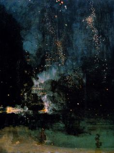 """alecshao: """" James Abbott McNeill Whistler - Nocturne in Black and Gold: The Falling Rocket, 1875 - oil on wood """"."""