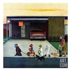 """""""Trick-Or-Treating in the Burbs"""", November 1, 1958 Giclee Print by John Falter at Art.com"""