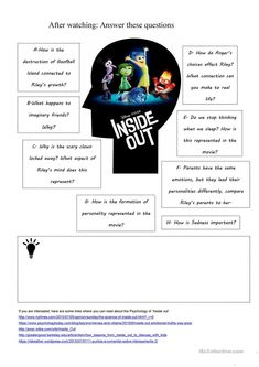 Inside Out Movie Worksheet worksheet - Free ESL printable worksheets made by teachers Printable Worksheets, Printables, Easter Worksheets, Cut And Paste Worksheets, Writing Worksheets, Kindergarten Worksheets, Worksheets For Kids, Movie Inside Out, Therapy Worksheets