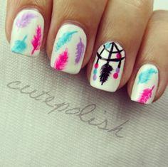 #nail #nails #nailart #manicure #beautiful #inspiration #white #pink #blue #purple #feather #dreamcatcher #simple #girly