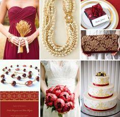 Wedding Color Combo Garnet Gold Champagne Cranberry Burgundy