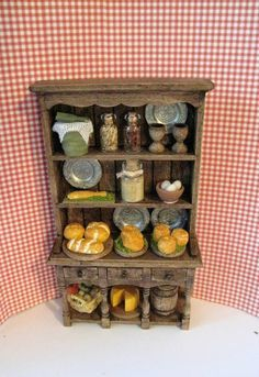 Tudor Hutch, filled dresser, Hutch and  accessories, Medieval Kitchen Dresser, Twelfth scale miniature, dollhouse mini