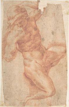 Giuseppe Cesari (Il Cavaliere d'Arpino), 1568-1640, Italian, Study of a Male Nude, n.d.  Red chalk, 17.8 x 11cm.  Metropolitan Museum of Art, New York.  Mannerism.