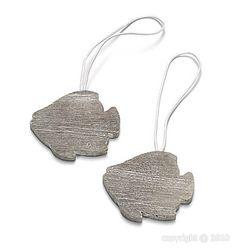 Marque place porte nom poisson en bois gris