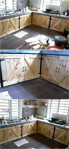 Here is an idea for the people, who are planning to renovate the kitchen and it can save the money because the reclaimed wood pallet kitchen cabinets can be created easily investing some time, not the money if the pallets are already available at home. Pallet Kitchen Cabinets, Built In Cabinets, Diy Cabinets, Kitchen Furniture, Rustic Furniture, Pallet Furniture, Kitchen Wood, Diy Kitchen, Distressed Kitchen
