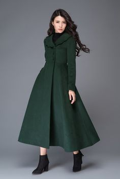Manteaux longs, manteau de laine verte, manteau d'hiver long C997 est une création orginale de Lu-yahui sur DaWanda