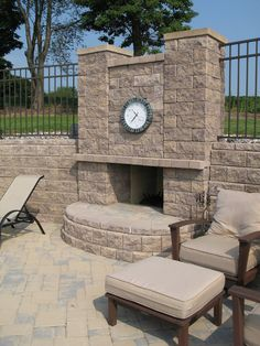 Outdoor fireplace #patio #backyard #summertime #patio www.nitterhousemasonry.com