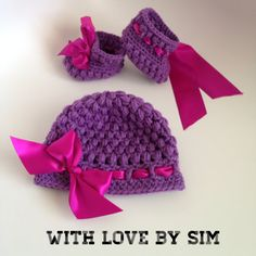 Purple Crochet Beanie and Booties with Ribbon Set on Etsy, $30.00