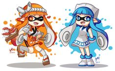 Sushi Chef and Ika Musume Inklings by SandraGH