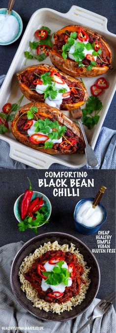 A healthy and comforting black bean chilli that costs less than 1 a portion! It is gluten free vegan plant-based and full of goodness. Perfect for these cold evenings! Healthy Living Recipes, Healthy Dinner Recipes, Vegetarian Recipes, Chilli Recipes, Vegan Dinners, Vegetarian Cooking, Soup Recipes, Bean Chilli, Chilli Chilli